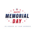 happy memorial day usa lettering poster vector image