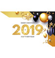 happy new 2019 year shining greeting card with vector image vector image