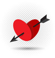 heart pierced by an arrow of cupid vector image vector image