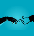 human hand touching pixelated hand vector image vector image