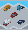 isometric automobile set of suv first-aid truck vector image vector image