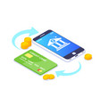 isometric money transfers concept vector image vector image