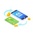 isometric money transfers concept vector image