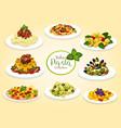 italian cuisine pasta dishes vector image