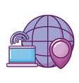 laptop with planet and pointer location vector image vector image