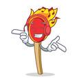 listening music match stick mascot cartoon vector image vector image