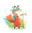 little fox cub for kids go hiking in forest vector image vector image