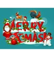 merry christmas poster with snowy letter and santa vector image