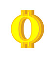 o letter bitcoin font cryptocurrency alphabet vector image vector image