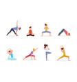 people doing yoga set people vector image vector image