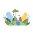 people planting and watering tree volunteers vector image vector image