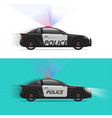 police car moving fast with siren flasher vector image vector image
