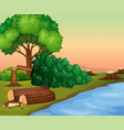 scene with chopped woods by the river vector image vector image