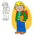 Schoolboy Coloring book page vector image vector image