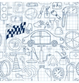 Seamless pattern with doodle icons for car and vector image vector image