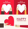 Set of St Valentines day greeting cards in flat vector image vector image