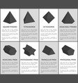 square pyramid and octahedron black prisms set vector image vector image