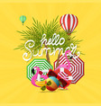 summer time banner design and colorful beach vector image vector image