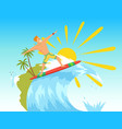 surfer riding wave in vector image vector image