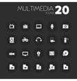 Thin multimedia icons on dark gray vector image vector image