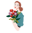 thoughtful female character with flower bouquet vector image