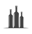 Three bottles for oil with screw cap Black icon vector image