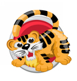 Tiger Orient horoscope sign isolated in circle vector image