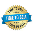 time to sell 3d gold badge with blue ribbon vector image vector image