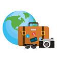 travel luggage cartoon vector image vector image