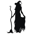 witch standing with a broom black silhouette vector image vector image
