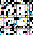 Crossword puzzle with flowers and symbol seamless vector image