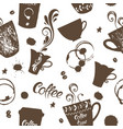 seamless background coffee hand drawn vector image