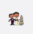 couple of newlyweds cutting wedding cake happy vector image