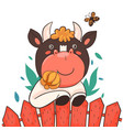 a cartoon bull peeks out from behind fence vector image