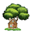 A cute girl outside the wooden house under the vector image vector image