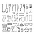 a set of kitchen objects line vector image vector image