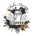 banner with coffee cup straw and wings vector image