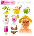 Beauty cosmetics icon set with beautiful young vector image vector image