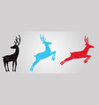 black blue and red silhouettes of reindeers vector image vector image