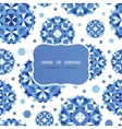 blue abstract circles frame seamless pattern vector image vector image
