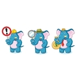 Blue Elephant Mascot with sign vector image vector image