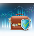 briefcase with paper currency dollars vector image