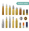 bullets and cartridges realistic set vector image vector image