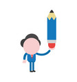 businessman character holding pencil vector image vector image