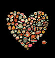 cakes and sweets collection heart shape for your vector image vector image