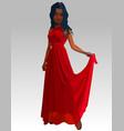 cartoon beautiful woman in long red dress vector image vector image