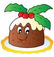 cartoon christmas pudding vector image