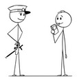 cartoon policeman controlling alcohol level vector image vector image