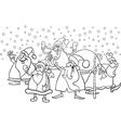 cartoon santa clauses coloring page vector image vector image