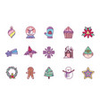 celebration decoration merry christmas icons vector image vector image